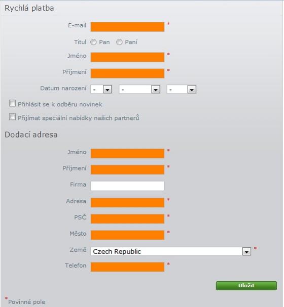 Vyplnění kontaktních údajů zákazníka