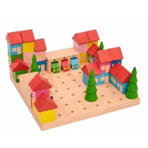 Dřevěná stavebnice Městečko - 45 dílů